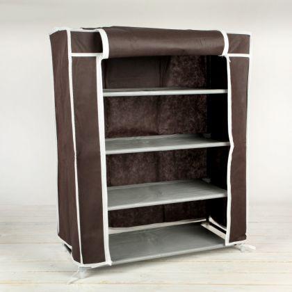Тканевый шкаф для обуви, 4 полки, кофейный, 60х28х72 см
