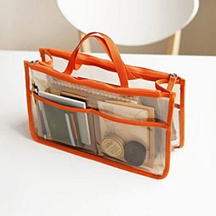Органайзер для женской сумки прозрачный, оранжевый, 28 x 16,5 см