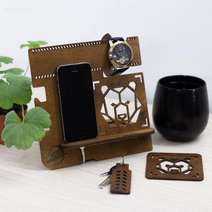 """Органайзер деревянный для стола """"Медведь"""""""
