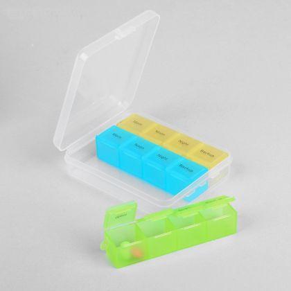 Органайзер для таблеток из трех контейнеров на 4 секции, 9 х 11 х 2,5 см