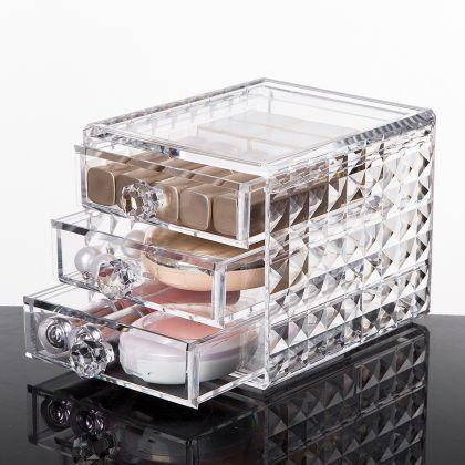 "Акриловый органайзер для косметики ""Diamond"" на 3 секции, 12 х 15,8 х 11,5 см"