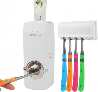 Диспенсер для зубной пасты с держателем на 5 зубных щеток, белый