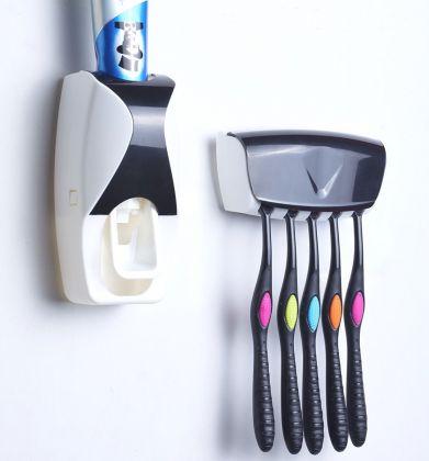 Диспенсер для зубной пасты с держателем на 5 зубных щеток, черный