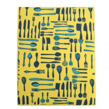 """Коврик-сушилка для посуды """"Приборы"""", желтый, 40 x 30 см"""