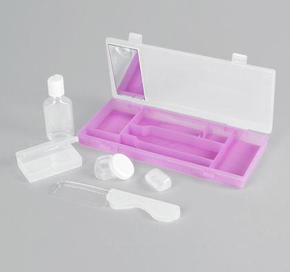 Набор дорожный с зеркалом: баночка 10 г, бутылочка 40 мл, чехол для зубной щетки, расческа, контейнер, 25,5 х 11 х 3 см
