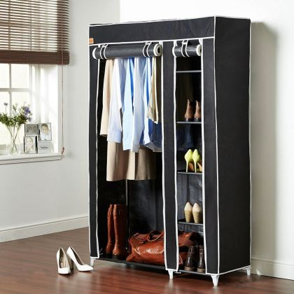 "Тканевый шкаф ""Дабл"", черный, 110 x 43 x 172 см"