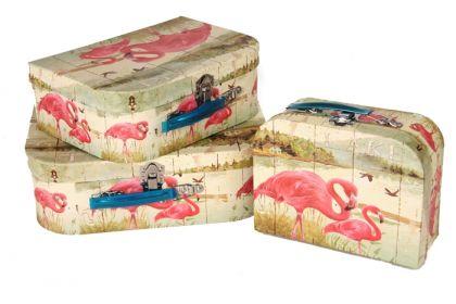 """Набор коробок """"Розовый фламинго"""", 3 шт, 30 х 21 х 9,5 см"""