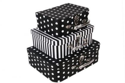Набор коробок в горошек и полоску, черно-белый, 3 шт, 30,2 х 21,9 х 9,5 см