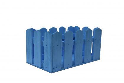 """Кашпо из дерева """"Забор"""", голубой, 24 х 13 х 13 см"""