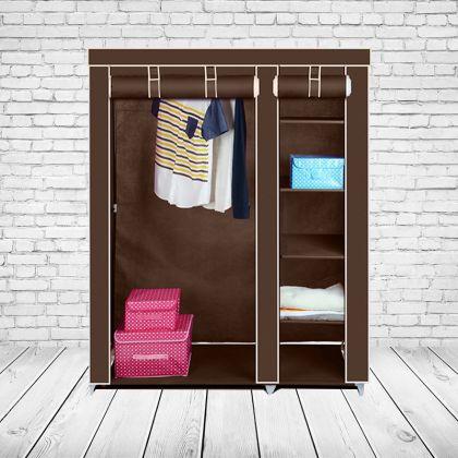 "Тканевый шкаф ""Дабл"", коричневый, 110 x 43 x 172 см"