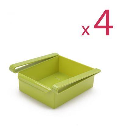 """Комплект из четырех контейнеров для холодильника """"Homsu"""", зеленый, 16 х 15,5 х 7 см"""