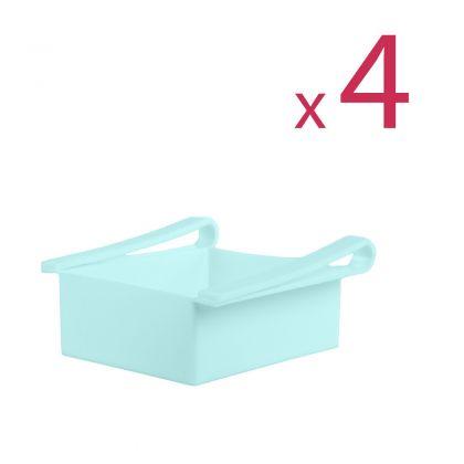 """Комплект из четырех контейнеров для холодильника """"Homsu"""", голубой, 16 х 15,5 х 7 см"""