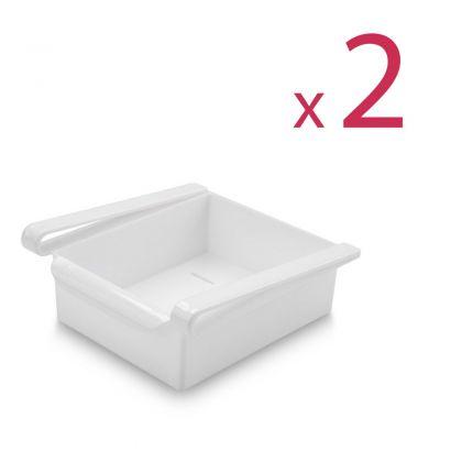 """Комплект из двух контейнеров для холодильника """"Homsu"""", белый, 16 х 15,5 х 7 см"""