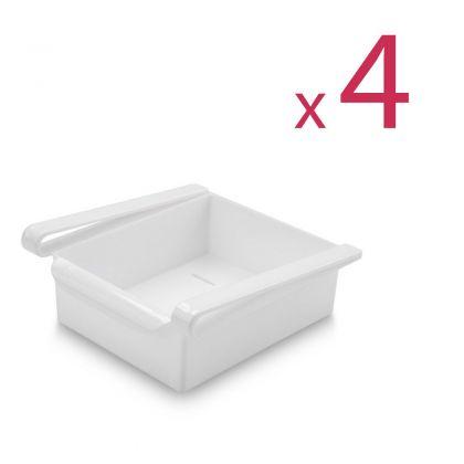"""Комплект из четырех контейнеров для холодильника """"Homsu"""", белый, 16 х 15,5 х 7 см"""