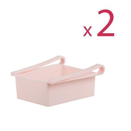 """Комплект из двух контейнеров для холодильника """"Homsu"""", розовый, 16 х 15,5 х 7 см"""