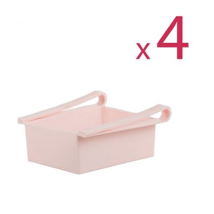 """Комплект из четырех контейнеров для холодильника """"Homsu"""", розовый, 16 х 15,5 х 7 см"""
