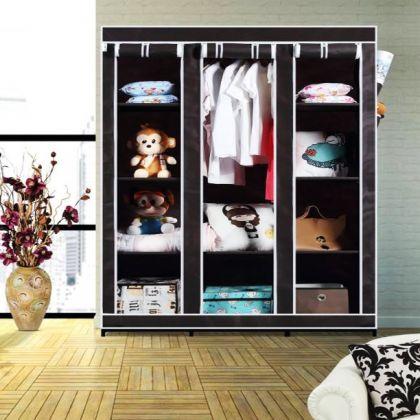 """Тканевый шкаф """"Трио"""", черный, 133 x 43 x 172 см"""