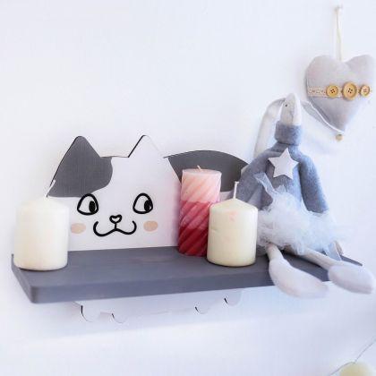 """Настенная полка """"Cat"""", белый, 40 x 14 x 24 см"""