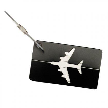 "Бирка на чемодан ""Самолет"", черный, 8 х 4,5 см"