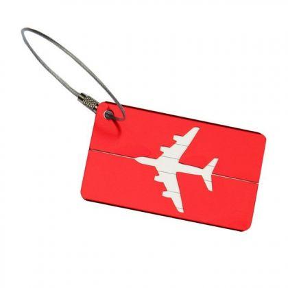 """Бирка на чемодан """"Самолет"""", красный, 8 х 4,5 см"""