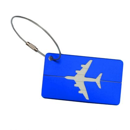 "Бирка на чемодан ""Самолет"", синий, 8 х 4,5 см"