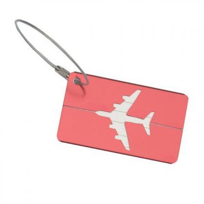 "Бирка на чемодан ""Самолет"", розовый, 8 х 4,5 см"