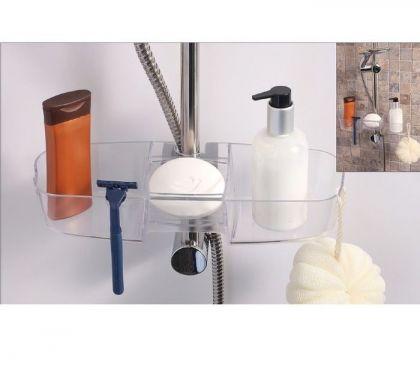 Полочка на душевую штангу для шампуней и ванных принадлежностей, дымчатая, 33 х 11 х 6,5 см