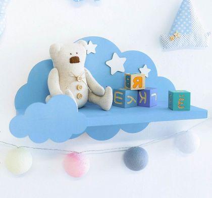 "Полка настенная ""Cloud"", голубой, 15 х 40 х 25 см"