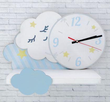 "Полка настенная с часами ""Cloud"", 14,5 х 40 х 29,2 см"