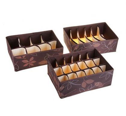 Комплект из 3х органайзеров Премиум, коричневый, 32 х 24 х 12 см
