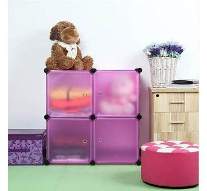 Шкафчик из 4 кубов для хранения, розовый
