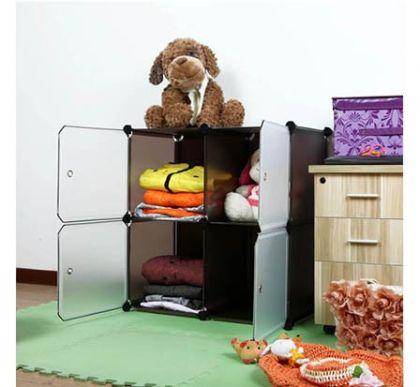 Шкафчик из 4 кубов для хранения, коричневый