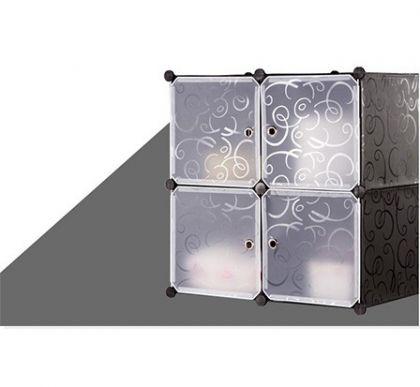 Шкафчик из 4 кубов для хранения, черный с узорами