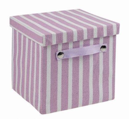 Ящик в полоску квадратный S, лаванда