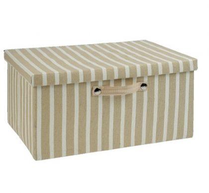 Ящик в полоску прямоугольный L, капучино