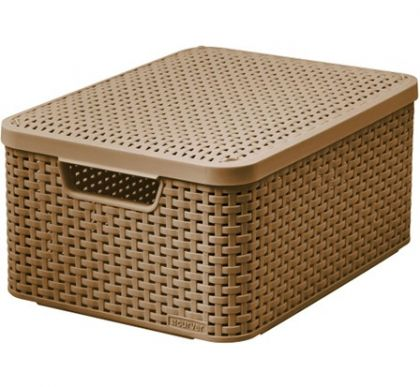 Ящик для хранения плетеный с крышкой Раттан 18л, разные цвета
