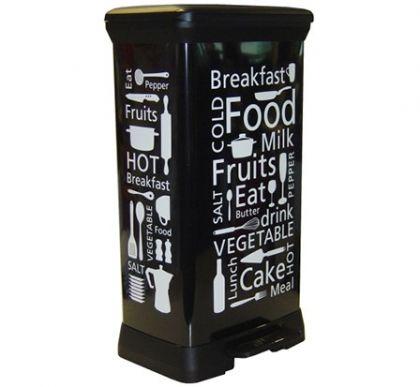 """Корзина для мусора с педалью """"Кухня"""" на 50 л, черная"""