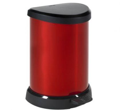 Корзина для мусора с педалью 20л, красный металлик