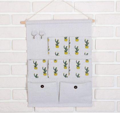 Органайзер подвесной «Cactus», 7 карманов, серый, 38 х 4,5 x 46,5 см