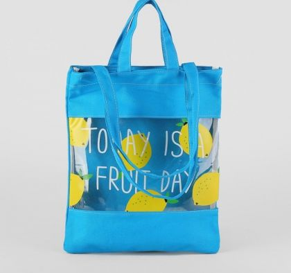 Сумка текстильная «Fruit day», голубой, 31 х 1 х 37 см
