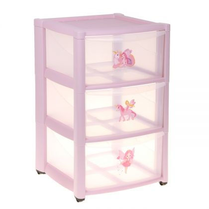 Комод детский на колёсах, 3 ящика, розовый, 37 х 40,5 х 59 см