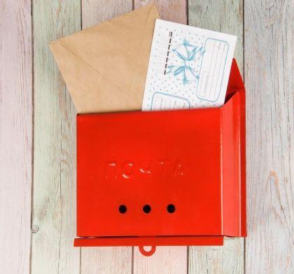 Ящик почтовый «Letter», красный, 27 x 7,5 x 23 см