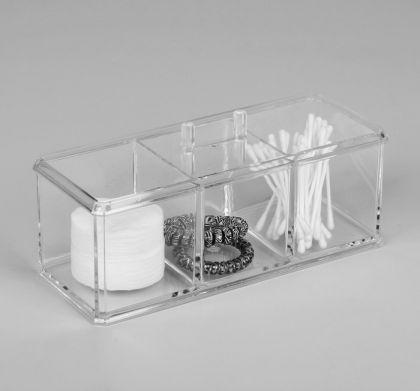 Органайзер для косметических принадлежностей, 3 секции, 22,5 х 9 х 8,5 см