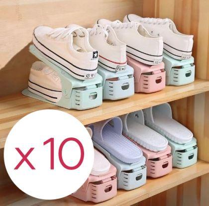 Комплект из подставок для обуви модель 1, белый, 10 шт, 25 х 9 х 10-18 см