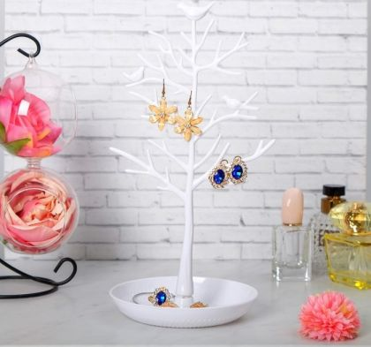 """Подставка для украшений """"Птицы на дереве"""", белый, 15,5 х 15,5 х 32 см"""