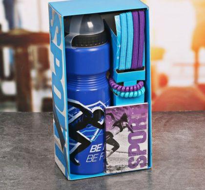"Набор ""Будь первым"", бутылка для воды 800 мл, повязка для волос 2шт., блокнот, 25 х 13 х 8 см"