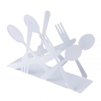 "Салфетница ""Столовые приборы"", белый, 13,5 х 4,5 х 9,5 см"