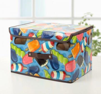 """Короб для хранения с крышкой """"Мороженое"""", синий, 38 х 25 х 23 см"""