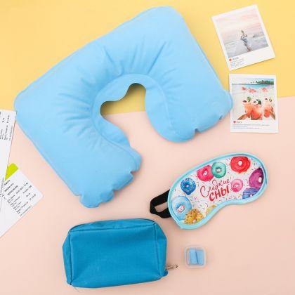 """Дорожный набор """"Спокойной ночи"""": подушка, маска для сна, беруши, голубой"""