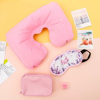 """Дорожный набор """"Спокойной ночи"""": подушка, маска для сна, беруши, розовый"""